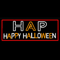 Happy Halloween Block With Red Border Neon Sign
