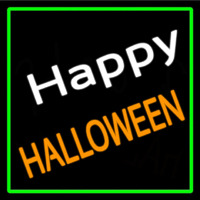 Happy Halloween With Green Border Neon Sign