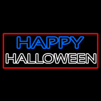 Happy Halloween With Red Border Neon Sign