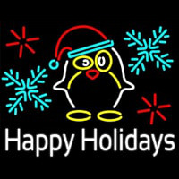 Happy Holidays With Snow Man Logo Neon Sign