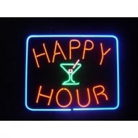 Happy Hour Cocktails Neon Sign
