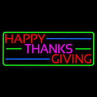 Happy Thanksgiving Block 2 Neon Sign