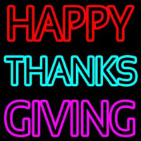 Happy Thanksgiving Block Neon Sign