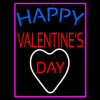 Happy Valentines Day With Pink Border Neon Sign