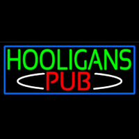 Hooligans Pub With Blue Border Neon Sign