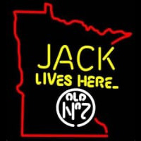 Jack Daniels Jack Lives here Minnesota Whiskey Neon Sign