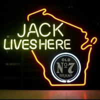 Jack Daniels Lives Here Whiskey Wisconsin Neon Sign