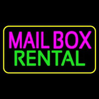 Mailbo  Rental Block Yellow Border Neon Sign