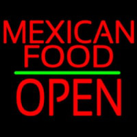 Me ican Food Block Open Green Line Neon Sign