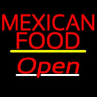 Me ican Food Open Yellow Line Neon Sign