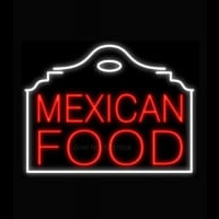 Mexican Food Red Building Neon Sign