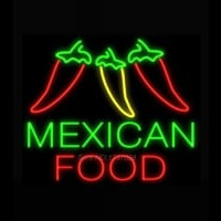 Mexican Food Three Peppers Neon Sign