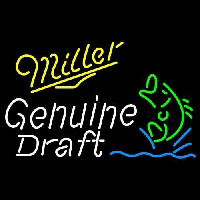 Miller Genuine Draft Blinking Fish Beer Sign Neon Sign