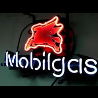 Mobil Gas Mobilgas Oil Station Neon Sign