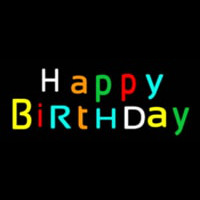 Multicolored Happy Birthday Neon Sign