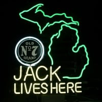 New Jack Daniels Lives Here Michigan Whiskey Neon Sign