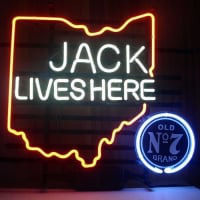 New Jack Daniels Lives Here Ohio Old #7 Whiskey Neon Sign