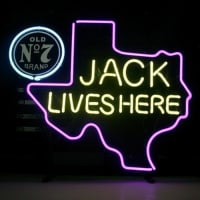 New Jack Daniels Lives Here Texas Old #7 Whiskey Neon Sign
