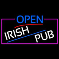 Open Irish Pub With Pink Border Neon Sign