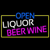 Open Liquor Beer Wine With Yellow Border Neon Sign