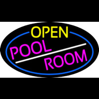 Open Pool Room Oval With Blue Border Neon Sign