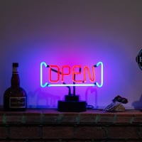 Open With Boarder Desktop Neon Sign