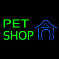 Pet Shop With Blue Logo Neon Sign