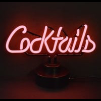 Pink Cocktails Desktop Neon Sign