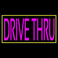 Pink Drive Thru With Yellow Border Neon Sign
