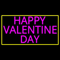 Pink Happy Valentines Day With Yellow Border Neon Sign