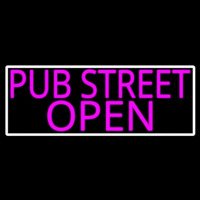 Pink Pub Street Open With White Border Neon Sign