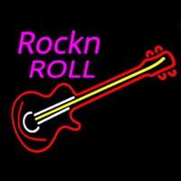 Pink Rock N Roll Guitar Neon Sign