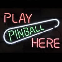 Play Pinball Here Game Room Neon Sign