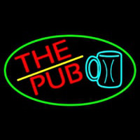 Pub And Beer Mug Oval With Green Border Neon Sign
