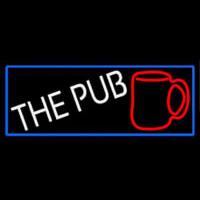 Pub And Beer Mug With Blue Border Neon Sign