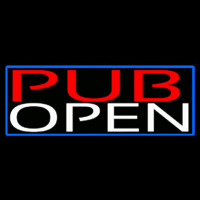 Pub Open With Blue Border Neon Sign
