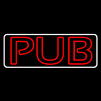 Pub Red With White Border Neon Sign