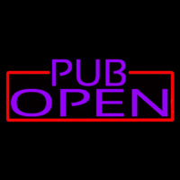 Purple Pub Open With Red Border Neon Sign