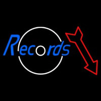 Records In Cursive With Arrow Neon Sign