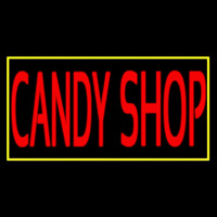Red Candy Shop With Yellow Border Neon Sign