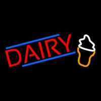 Red Dairy With Logo Neon Sign
