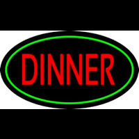 Red Dinner Oval Green Neon Sign