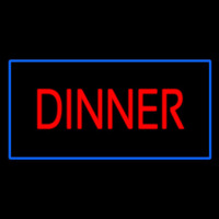 Red Dinner Rectangle Blue Neon Sign