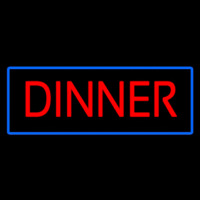 Red Dinner With Blue Border Neon Sign