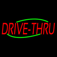 Red Drive Thru Neon Sign