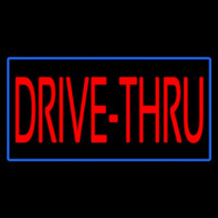Red Drive Thru With Blue Border Neon Sign