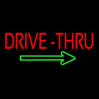 Red Drive Thru With Green Arrow Neon Sign