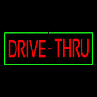 Red Drive Thru With Green Border Neon Sign