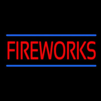 Red Fireworks Blue Lines Neon Sign