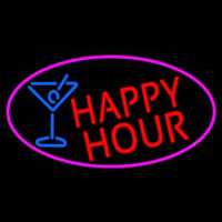 Red Happy Hour And Wine Glass Oval With Pink Border Neon Sign